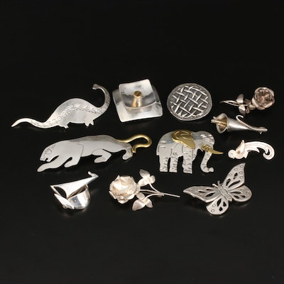 Sterling Brooches Featuring Mexican Animal Brooches