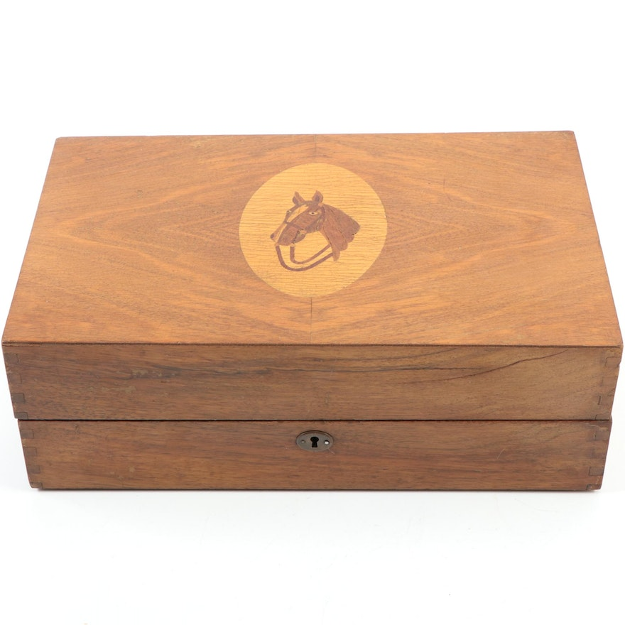 Wooden Liquor Chest with Marquetry Horse Portrait Lid, Early to Mid 20th Century