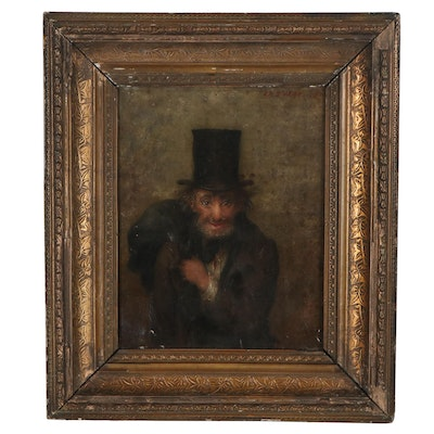 Joseph Henry Sharp Oil Painting of Man in Top Hat, 1879