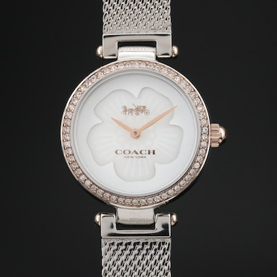 Coach Park Stainless Steel Mother of Pearl Diamond and Crystal Bezel Wristwatch