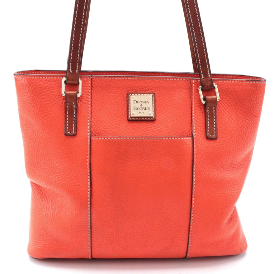Dooney & Bourke Small Lexington Shopper Tote in Clementine Pebble Leather