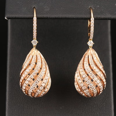 14K Rose Gold 3.04 CTW Diamond Openwork Earrings