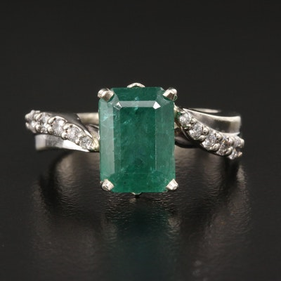 14K 3.49 CT Emerald and Diamond Ring with GIA Emerald Report