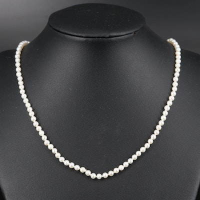 Individually Knotted Pearl Necklace with 14K Clasp