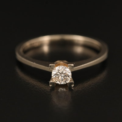 14K Flat Edge Cathedral Set 0.24 CT Diamond Solitaire Ring