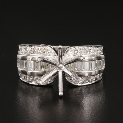 14K 0.97 CTW Diamond Semi-Mount Ring