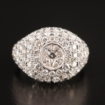 18K 3.15 CTW Pavé Diamond Domed Ring