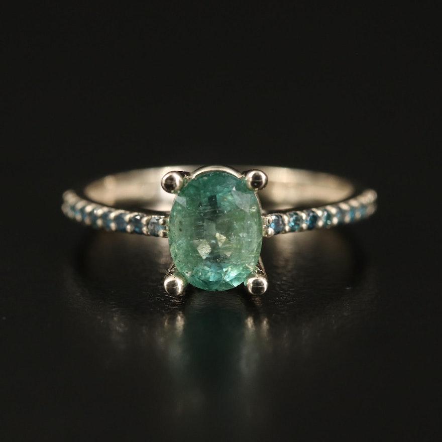 14K 1.19 CT Emerald and Diamond Ring