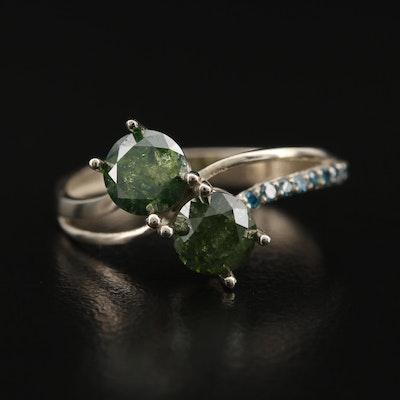 14K 1.32 CTW Diamond Bypass Ring