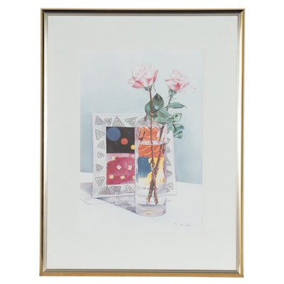 Anne Chen Offset Lithograph Still Life of Flowers, Late 20th Century