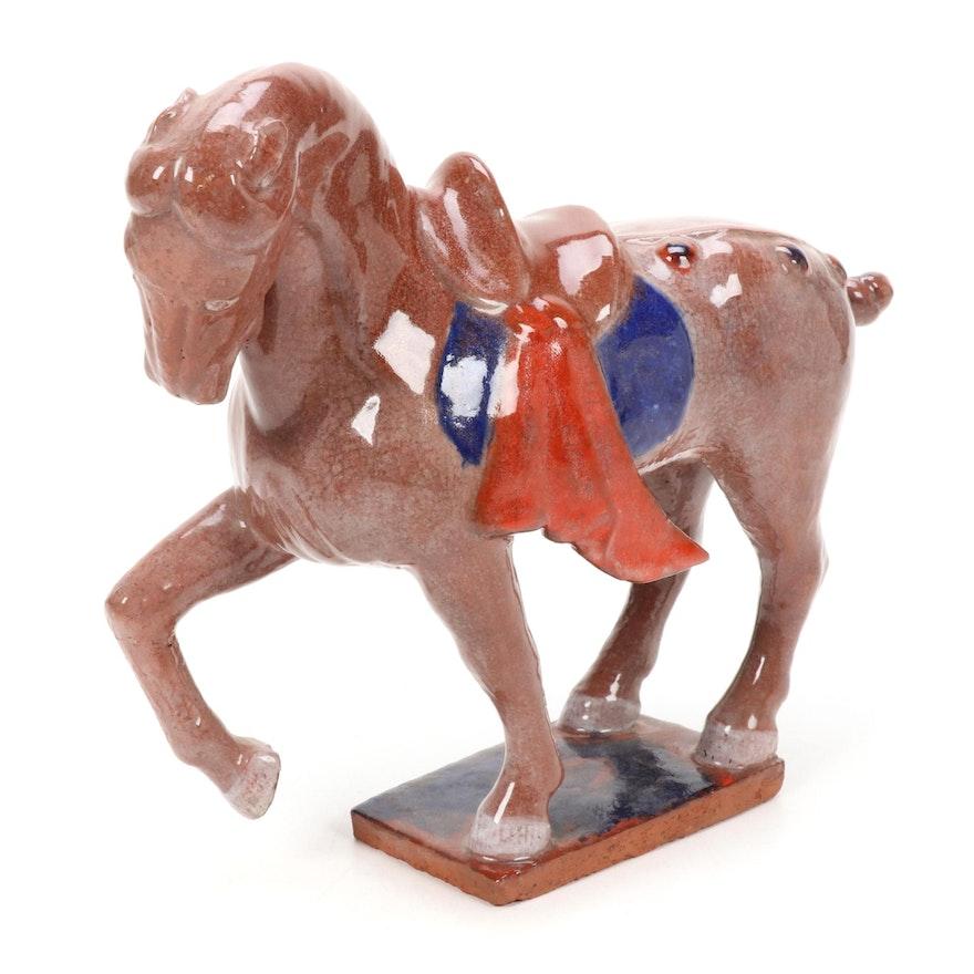 Paul Bogatay Chinese Inspired Ceramic Horse Sculpture, Mid-20th Century