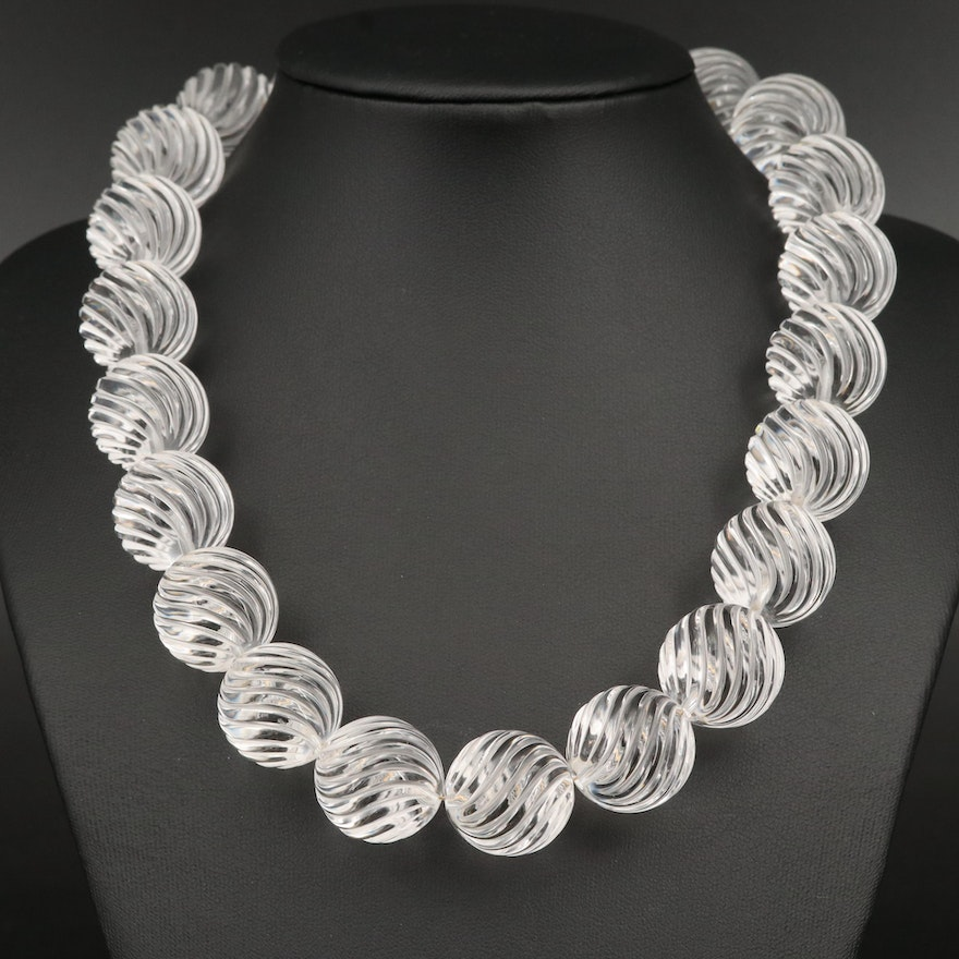 Etched Rock Crystal Quartz Necklace with 14K Clasp