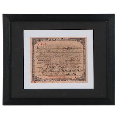 National Prohibition Act Medicinal Liquor Prescription Form Duplicate, 1928