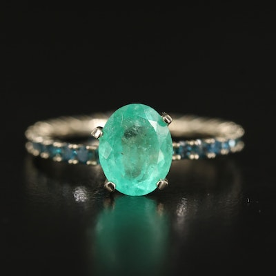 14K 1.65 CT Emerald and Diamond Ring