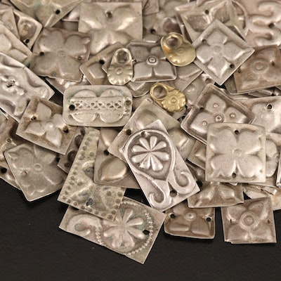 Indian Die Stamped Jewelry Components with Floral Designs