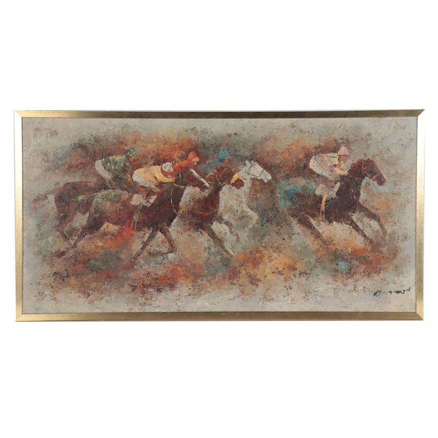 Impasto Oil Painting of Horse Race, Late 20th Century