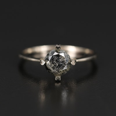 14K 1.58 CT Diamond Solitaire Ring with Heart Prongs and Sides