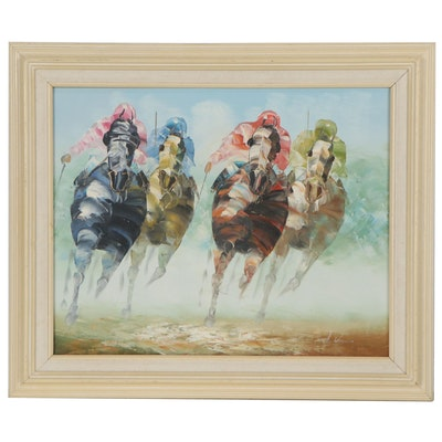 Anthony Veccio Impasto Oil Painting of Horse Race, Late 20th Century