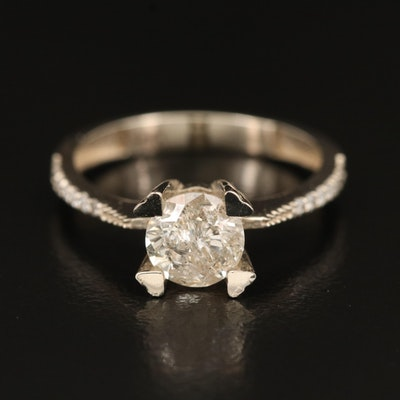 14K 1.09 CTW Diamond Ring with Heart Prongs