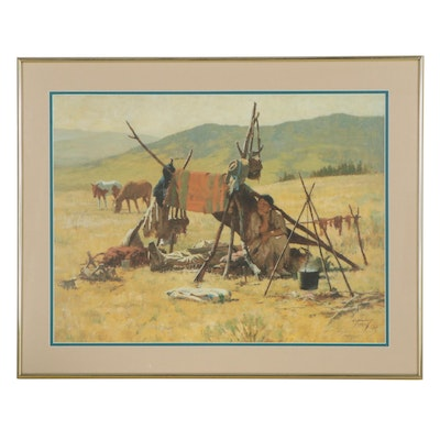 "Howard Terpning Offset Lithograph ""One Man's Castle,"" Late 20th Century"