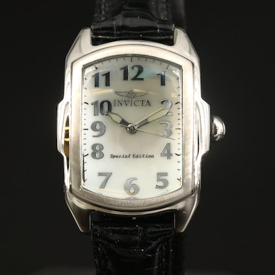 Invicta Lupah White Mother of Pearl Dial Stainless Steel Quartz Wristwatch