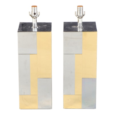"""Paul Evans """"Cityscape"""" Chrome and Brass Plated Table Lamp Bases, 1970s"""