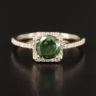 14K 1.25 CTW Green Diamond and Diamond Ring