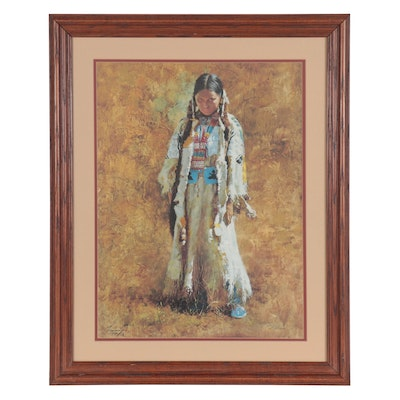 "Howard Terpning Offset Lithgraph ""Sunday Best,"" Late 20th Century"