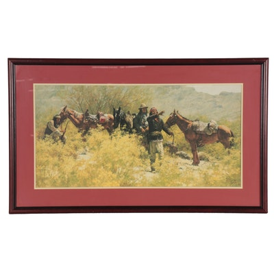 """Howard Terpning Offset Lithograph """"Scouts of General Crooks,"""" Late 20th Century"""