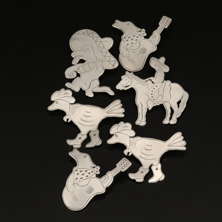 Western Themed Don Lucas Sterling Brooches