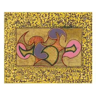 "Kayode Buraimoh Mixed Media Painting ""Transformation,"" 21st Century"