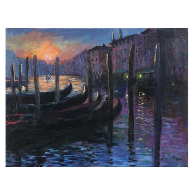 "Nino Pippa Oil Painting ""Venice - Sunset on the Grand Canal,"" 2009"