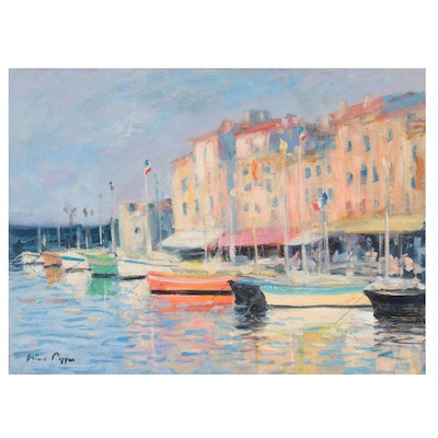 "Nino Pippa Oil Painting ""France - Saint Tropez Harbor,"" 2013"