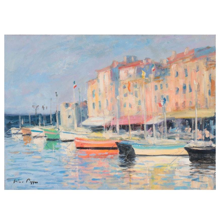 "Nino Pippa Oil Painting ""France - Saint Tropez Harbor,"" 2013"