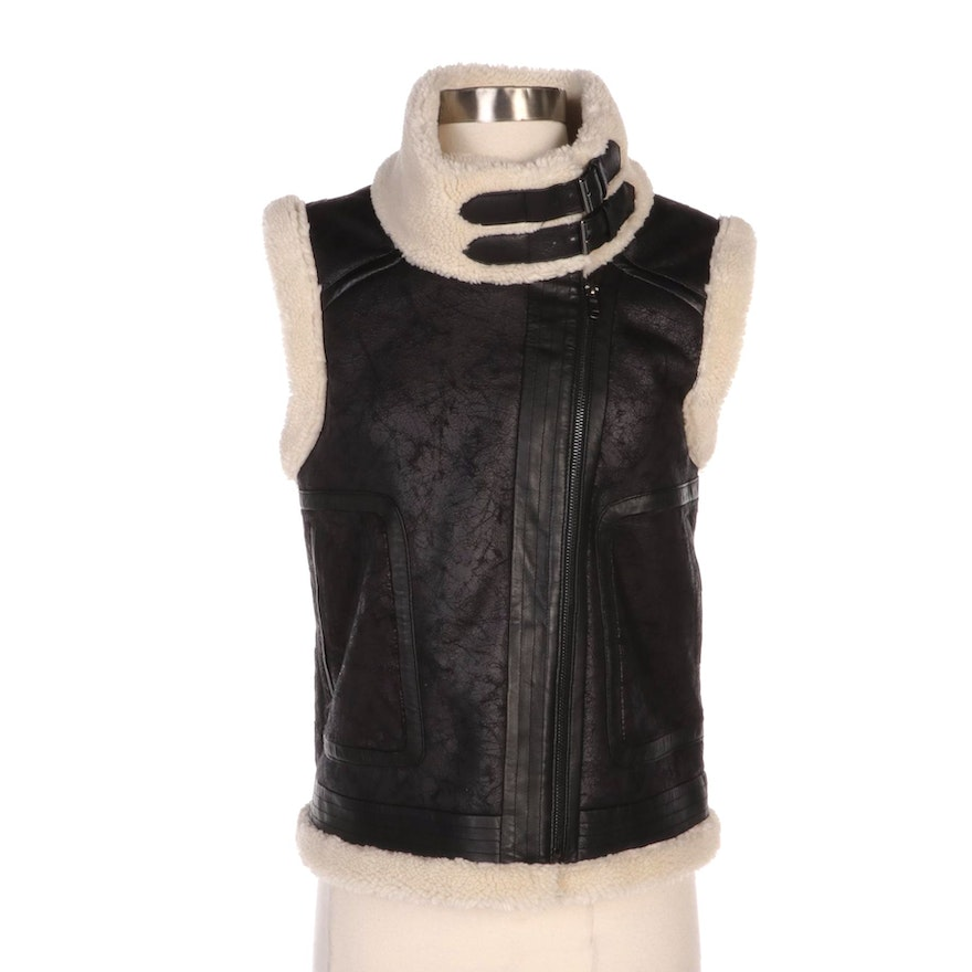 Joie Danay Black Leather Vest with Faux Shearling