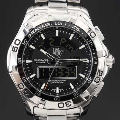 "TAG Heuer ""Aquaracer 300M"" Chronotimer Stainless Steel Quartz Wristwatch"