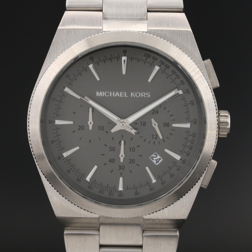 "Michael Kors ""Channing"" Stainless Steel Chronograph Quartz Wristwatch"