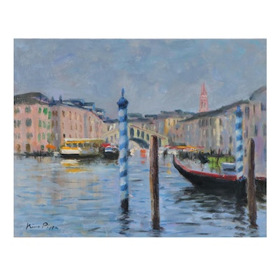 "Nino Pippa Oil Painting ""Grand Canal,"" 21st Century"