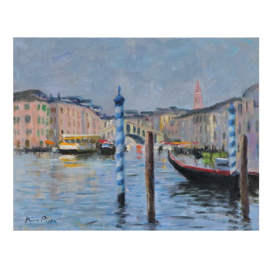 "Nino Pippa Oil Painting ""Grand Canal,"" 21st Century"