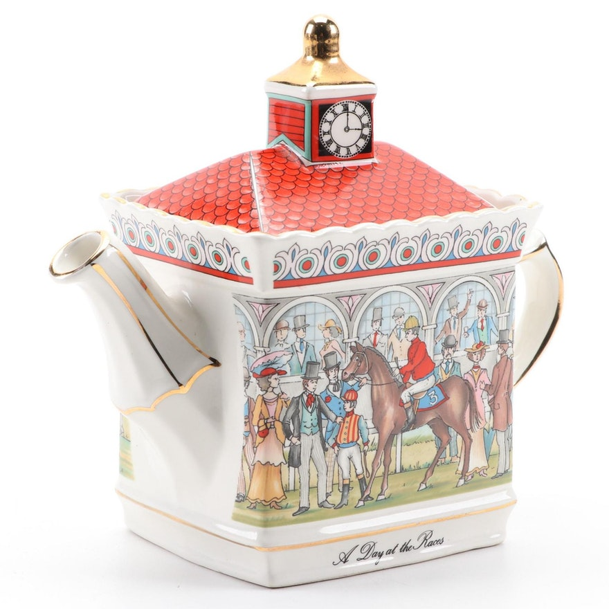 """Sadler """"A Day at the Races"""" English Ceramic Teapot, Late 20th Century"""