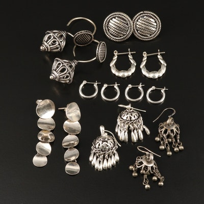 Sterling and 800 Silver Earrings Featuring Dome Chandelier Earrings
