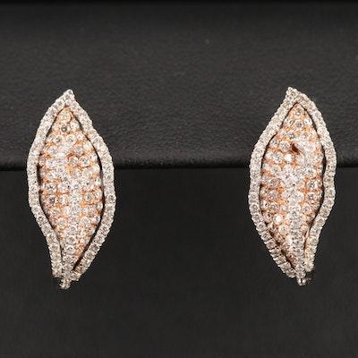 18K 1.29 CTW Diamond Leaf Earrings
