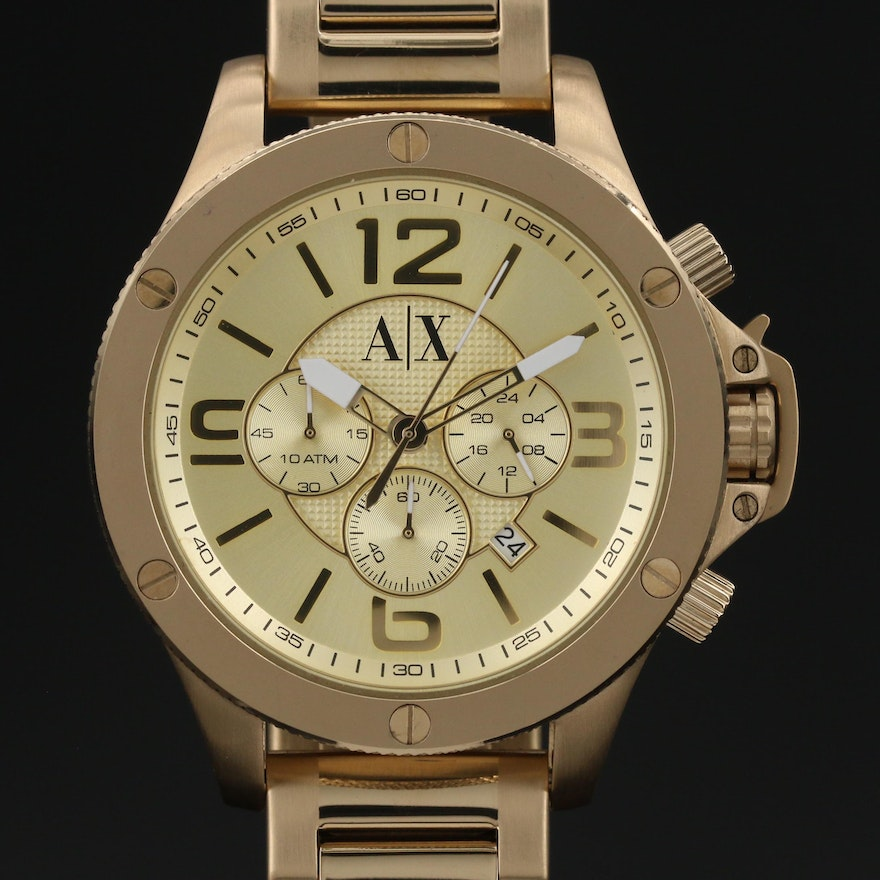 Armani Exchange Gold Tone Stainless Steel Chronograph Wristwatch