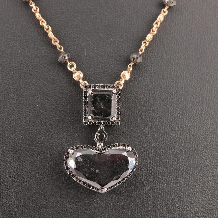 18K 14.69 CTW Diamond Pendant on 14K Chain