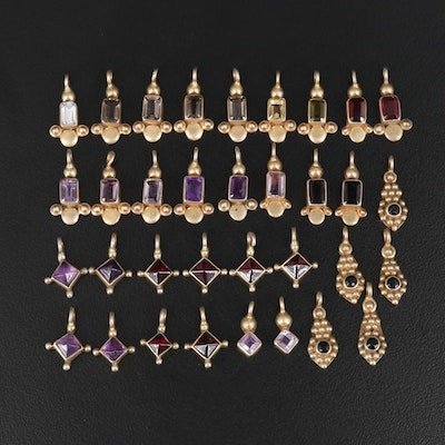 Sterling Amethyst, Garnet and Citrine Charms