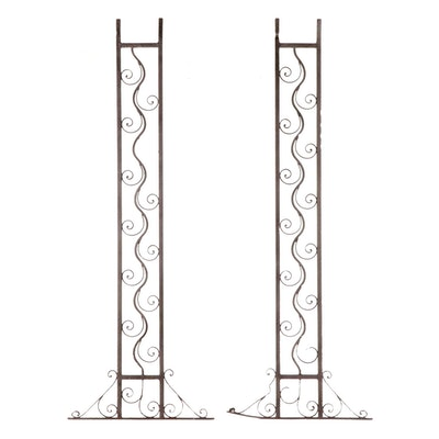 Pair of Wrought Iron Architectural Pilasters, Mid to Late 20th Century