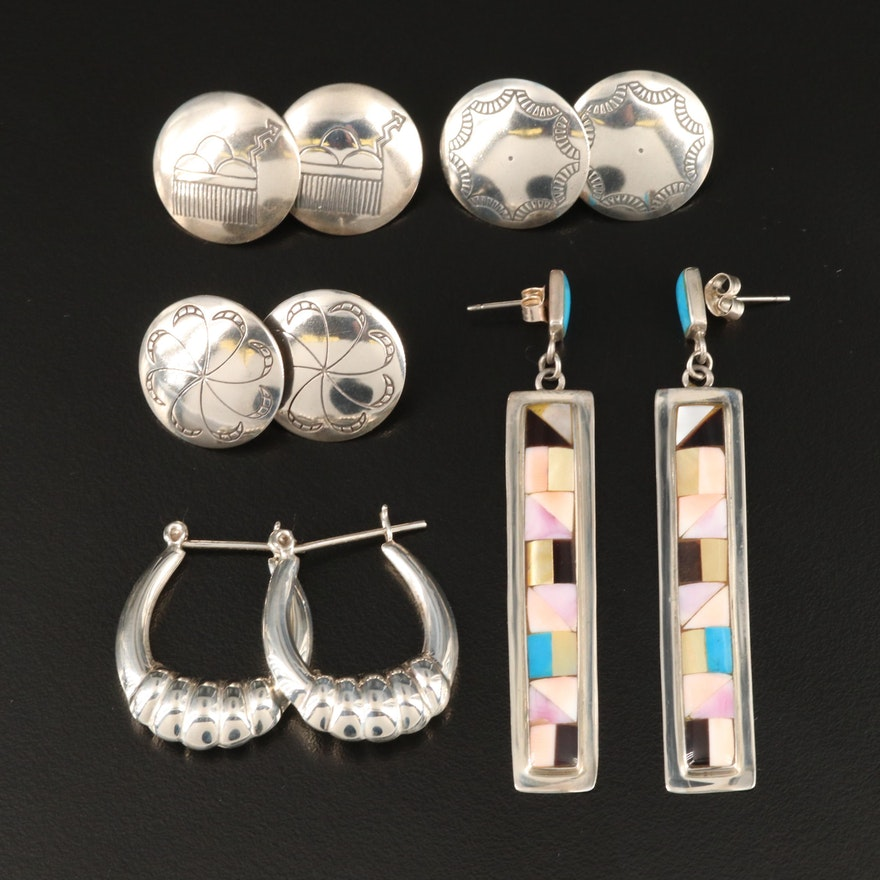 Sterling Inlay, Button and Hoop Earrings