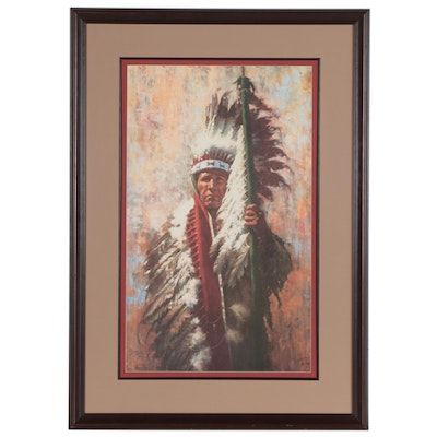 "Howard Terpning Offset Lithograph ""The Strength of Eagles,"" Late 20th Century"