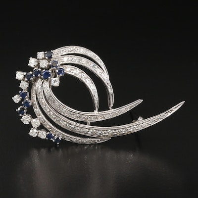 Retro 14K Sapphire and 2.02 CTW Diamond Spray Brooch