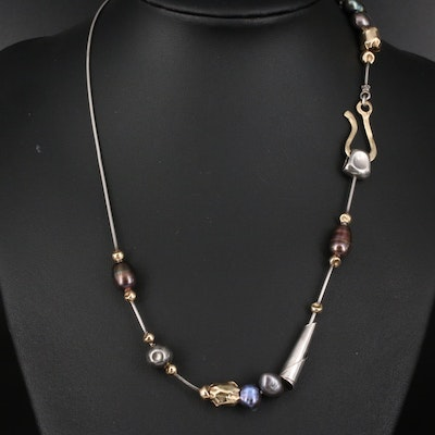 Unsigned Sterling and Pearl Contemporary Handmade Necklace
